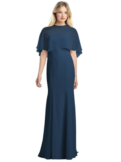 Jewel-Trimmed Capelet Gown by Jenny Packham - Sofia Blue