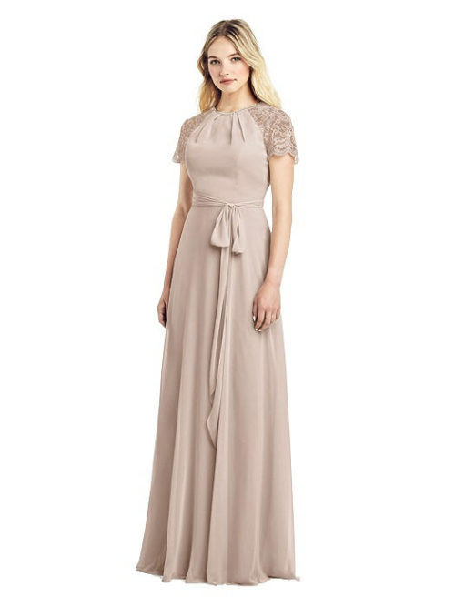 Jewel-Neck Marquis Lace Dress by Jenny Packham - Cameo
