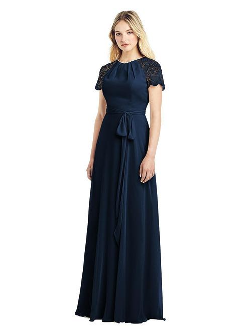 Jewel-Neck Marquis Lace Dress by Jenny Packham - Midnight