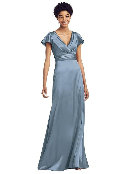 Draped Wrap Stretch Satin Gown by Dessy - Slate
