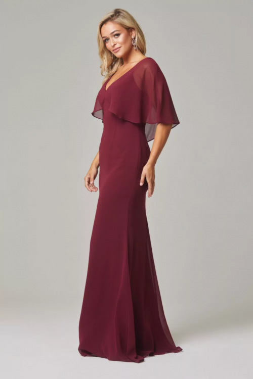 Alora Cape Sleeve Dress by Tania Olsen - Merlot