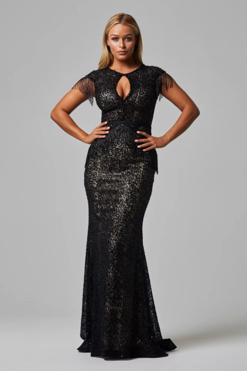 Anika Beaded Evening Dress by Tania Olsen - Black