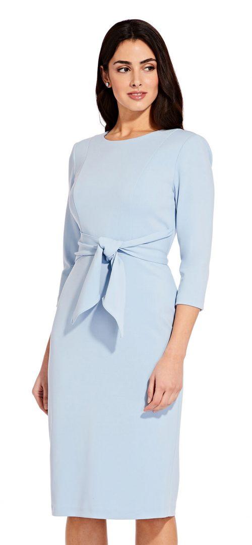 Bow Sheath Dress by Adrianna Papell - Blue Mist