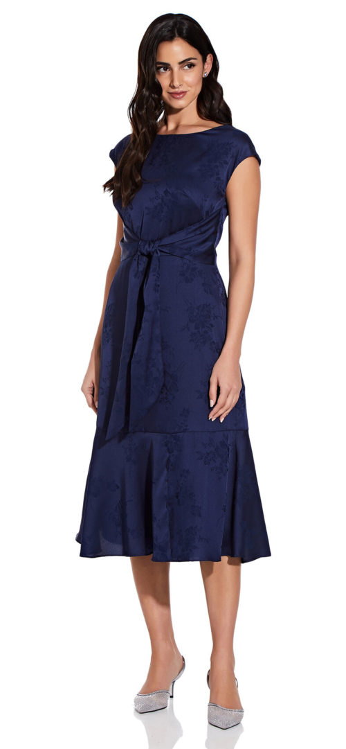 Floral Satin Midi Dress by Adrianna Papell - Navy