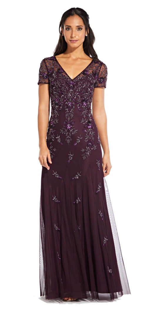 Floral Beaded Godet Gown with Short Sleeves by Adrianna Papell - Night Plum