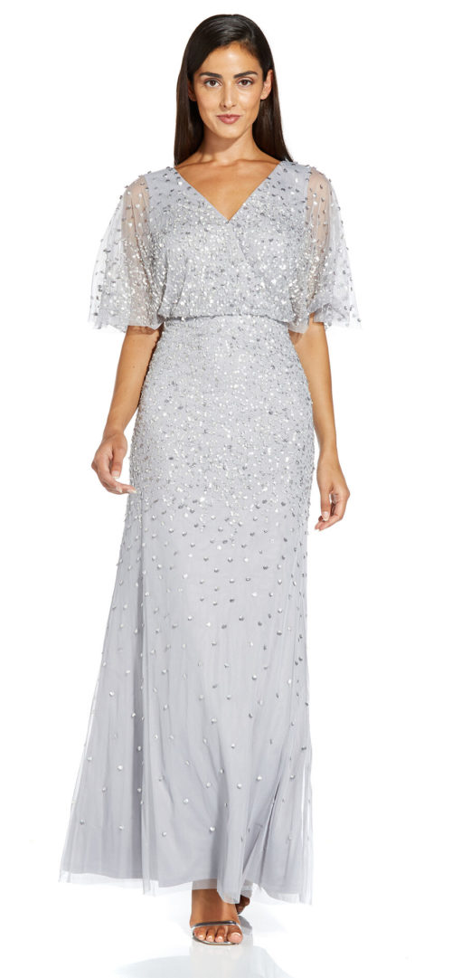 Beaded Flutter Sleeve Gown by Adrianna Papell - Silver Mist