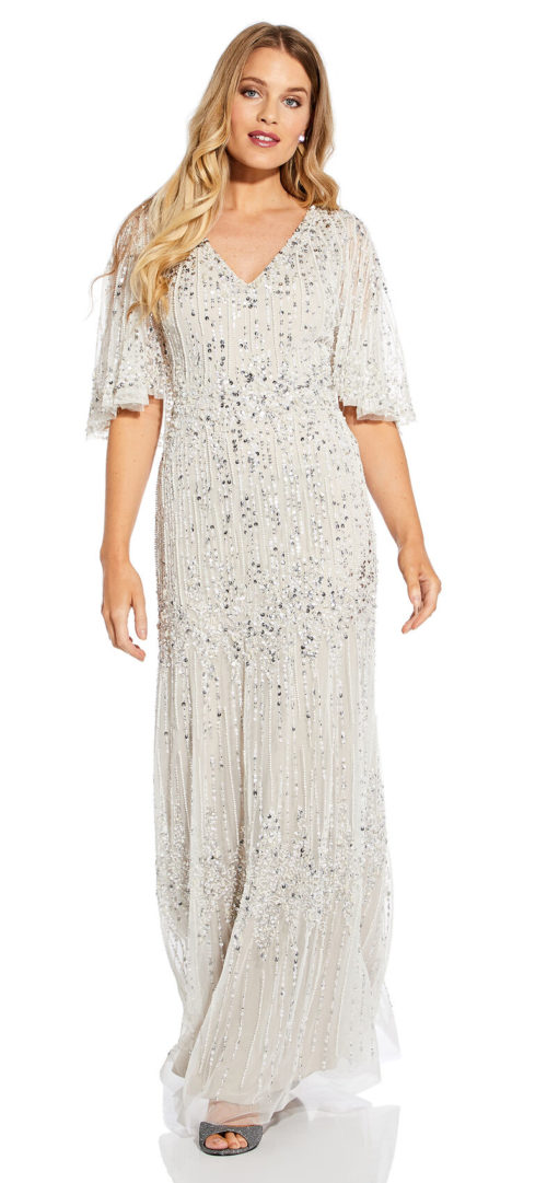 Long Beaded Cape Dress with Sequin Detail by Adrianna Papell - Biscotti