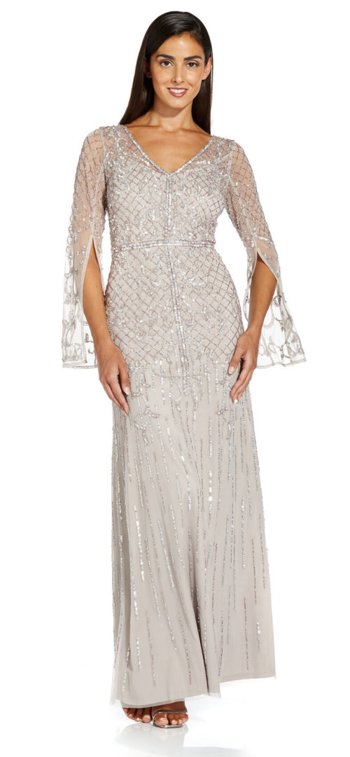 Beaded Split Sleeve Mermaid Gown by Adrianna Papell - Marble