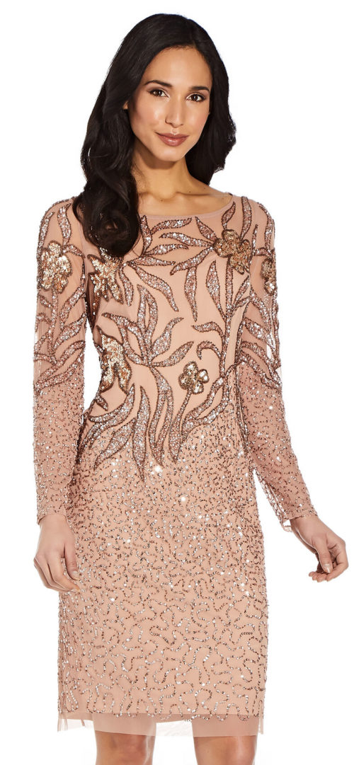 Full Sleeve Floral Sequin Dress by Adrianna Papell - Rose Gold