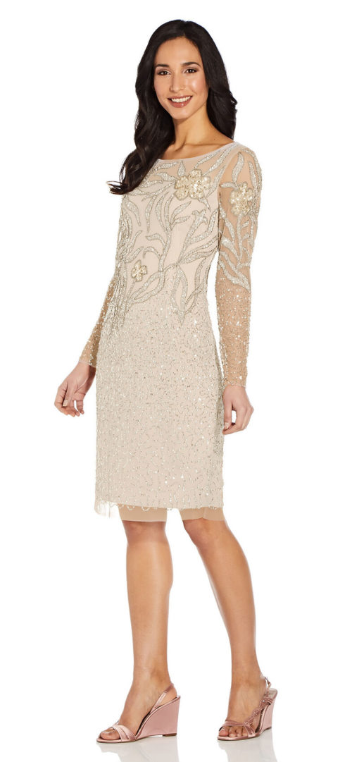 Full Sleeve Floral Sequin Dress by Adrianna Papell - Biscotti