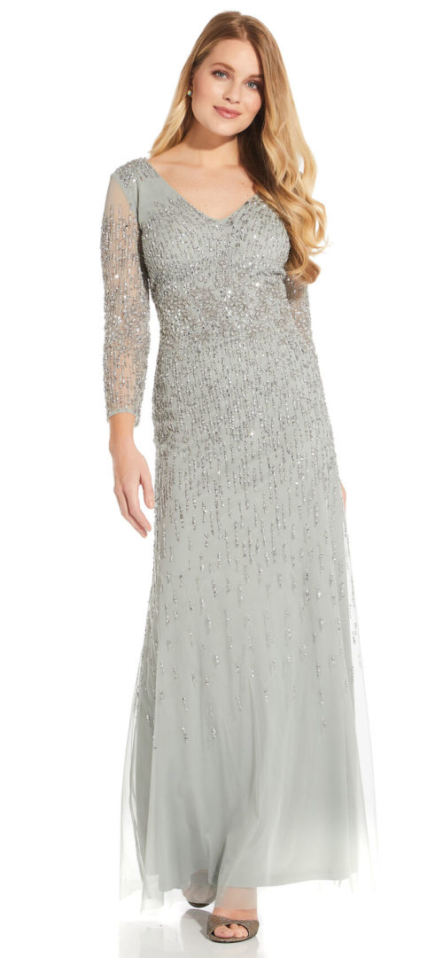 Beaded Dress with Three Quarter Sleeves by Adrianna Papell - Frosted Sage