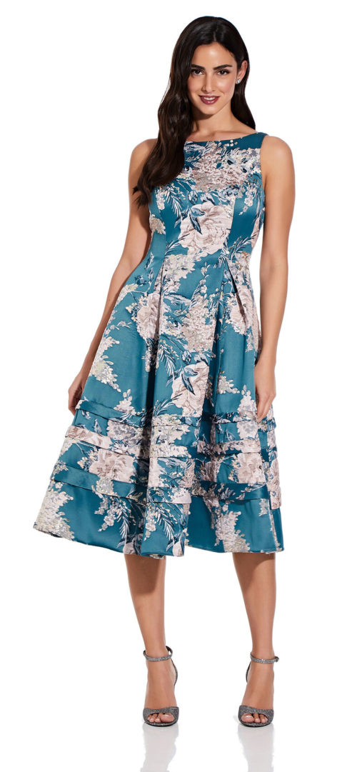 Metallic Floral Midi Dress by Adrianna Papell - Teal