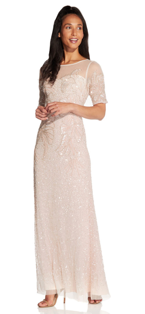 Beaded Elbow Sleeve Gown by Adrianna Papell - Flaxen