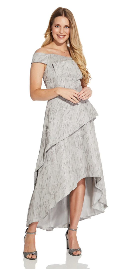 Off the Shoulder Jacquard Gown by Adrianna Papell - Silver