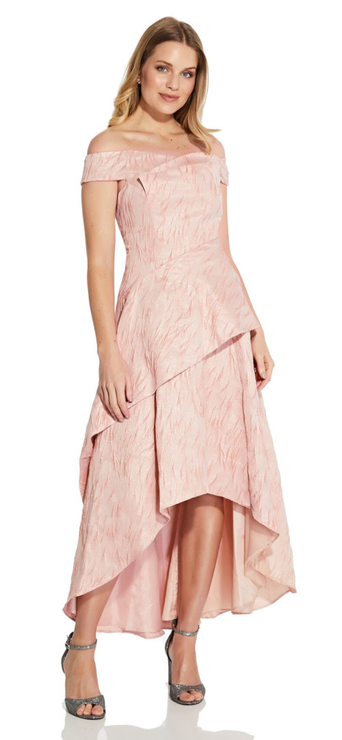 Off the Shoulder Jacquard Gown by Adrianna Papell - Blush