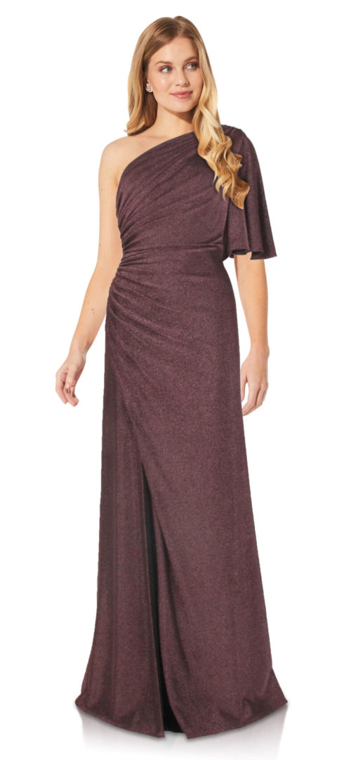 One Shoulder Metallic Knit Gown by Adrianna Papell - Amethyst
