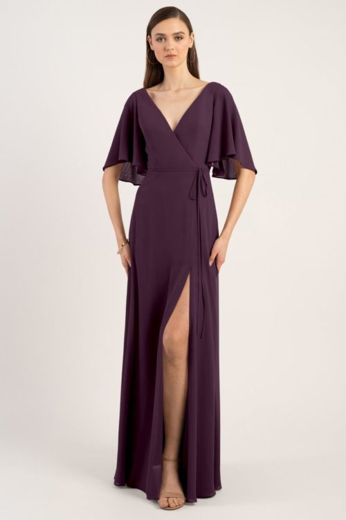 Ari Chiffon Wrap Gown by Jenny Yoo - Black Currant