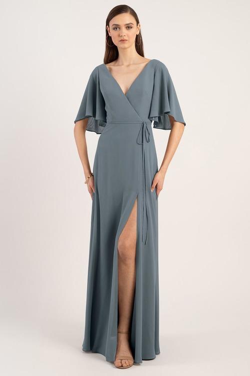 Ari Chiffon Wrap Gown by Jenny Yoo - Denmark Blue