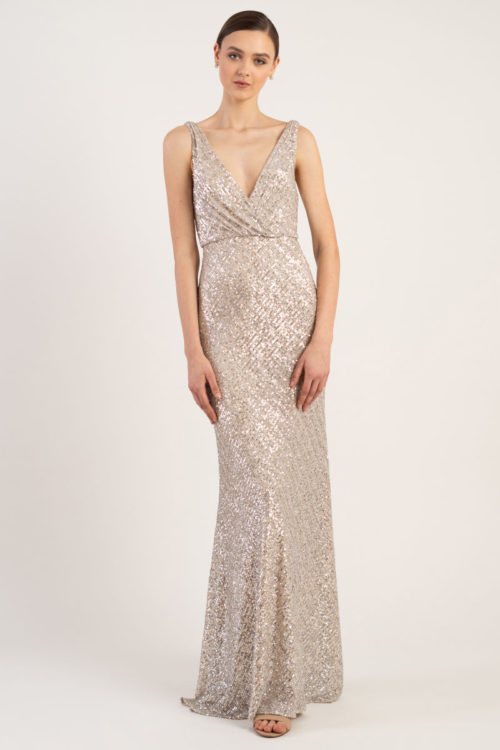 Billie Sequin Gown by Jenny Yoo - Metallic Silver