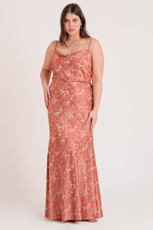 Dahlia Satin Print Gown by Jenny Yoo - English Rose