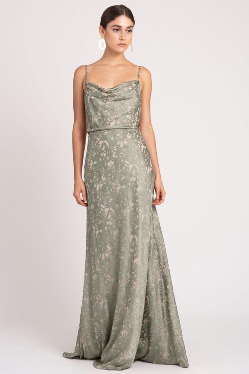 Dahlia Satin Print Gown by Jenny Yoo - Sage