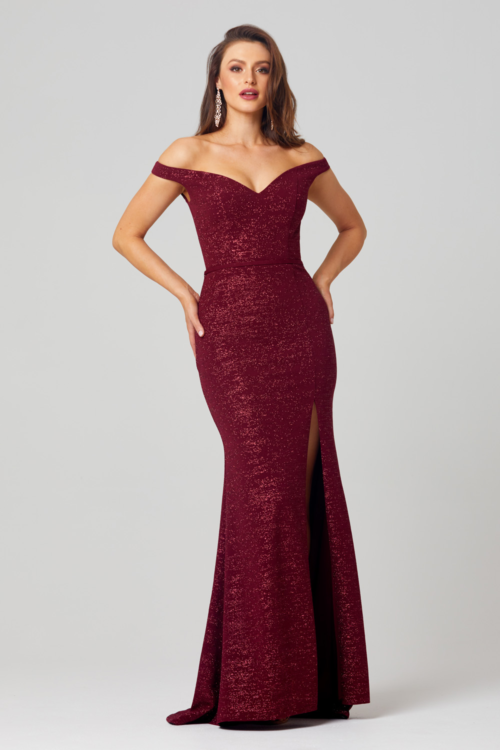 Jules Glitter Evening Gown by Tania Olsen - Wine