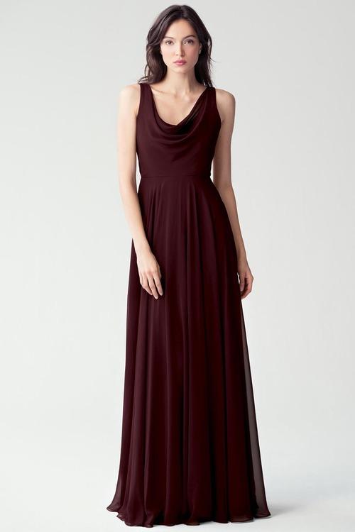 Liana Cowl Neck Dress by Jenny Yoo - Mahogany