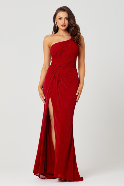 Matilda Glitter Knit Evening Gown by Tania Olsen - Red