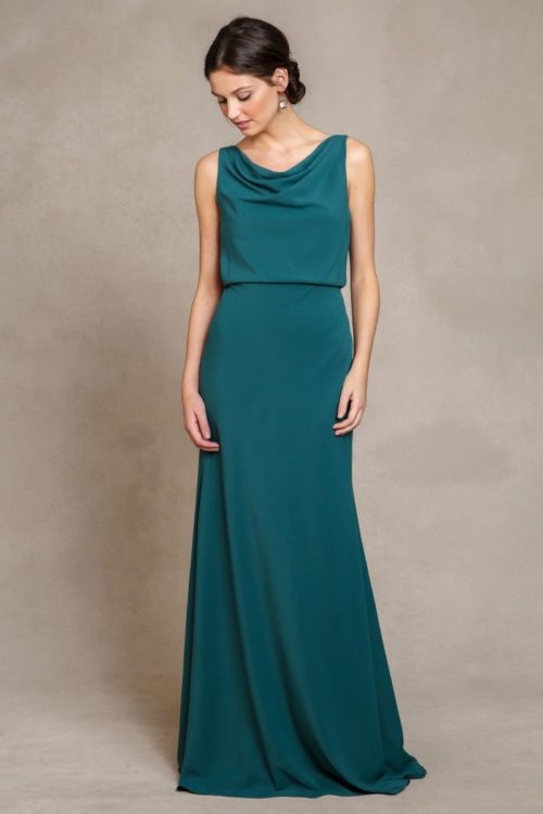 Madelyn Crepe de Chine Dress by Jenny Yoo - Lake Green