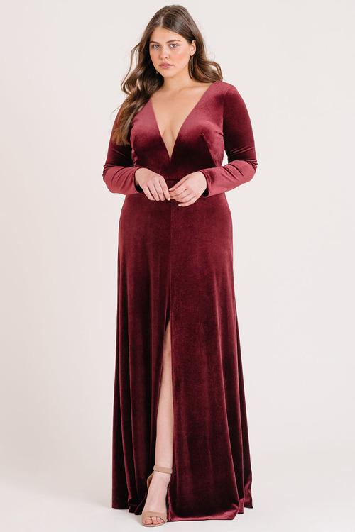 Malia Long Sleeve Velvet Gown by Jenny Yoo - Dark Berry