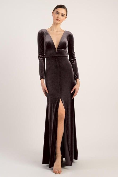 Malia Long Sleeve Velvet Gown by Jenny Yoo - Vintage Plum