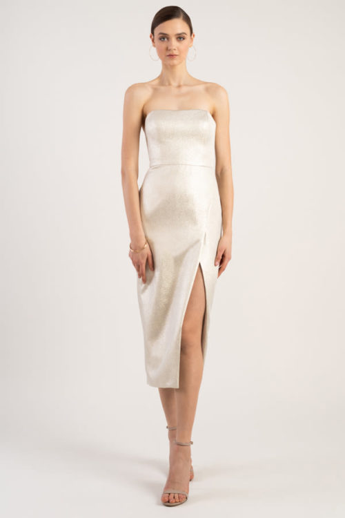 Reign Cocktail Gown by Jenny Yoo - Metallic Gold