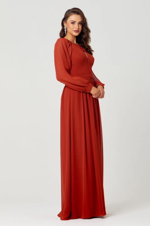 Sienna Chiffon Gown by Tania Olsen - Burnt Orange