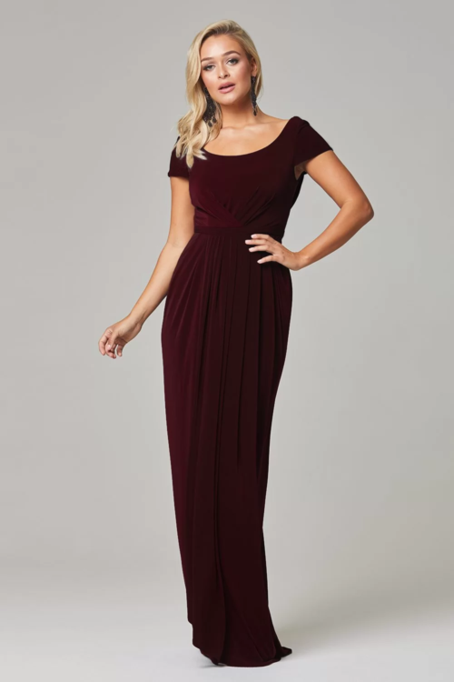 Gloria Cap Sleeve Dress by Tania Olsen - Wine