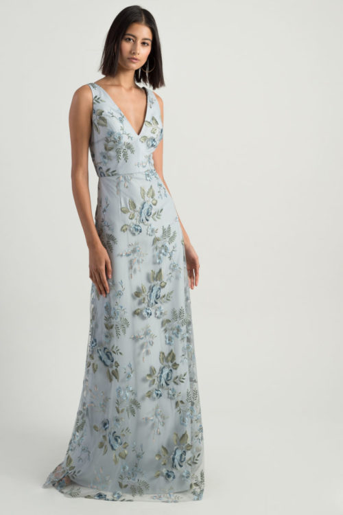 Tatum Floral Embroidered Gown by Jenny Yoo - Serenity Blue