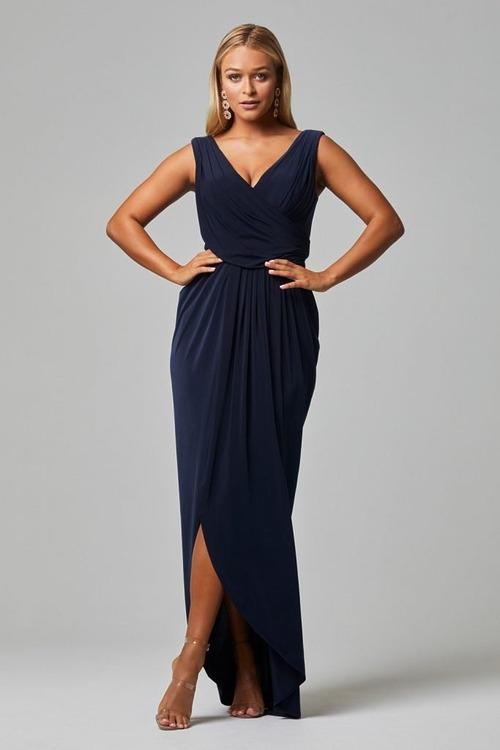 Kalani Draped Jersey Dress by Tania Olsen - Navy Blue