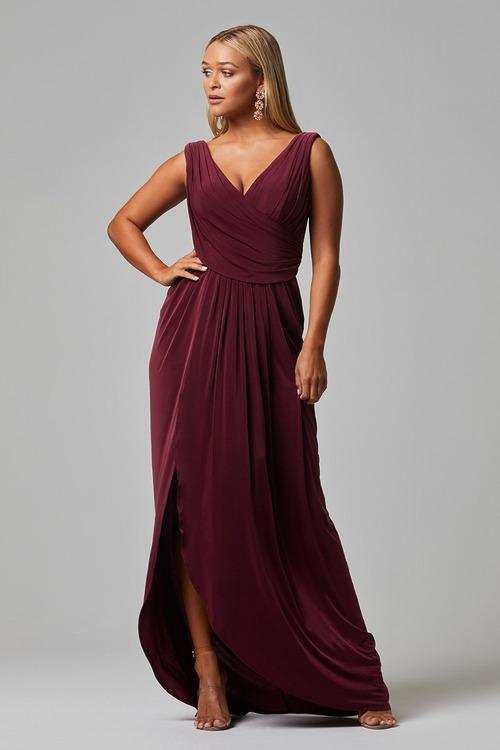 Kalani Draped Jersey Dress by Tania Olsen - Wine